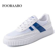 Fooraabo Breathable Men Casual Shoes 2017 Summer Comfortable Men Krasovki Fashion White Flat Shoes Lace Up Chaussure Homme