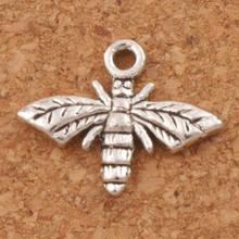 Bee Flying Charm Beads Pendants Fashion 60PCS New 17.2x13.5mm Tibetan Silver Cute Jewelry DIY L962
