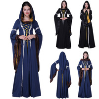 Retro Women Halloween Costumes Hoodie Witch Costume Women Long Dress Clothes Women Party Coat Trench