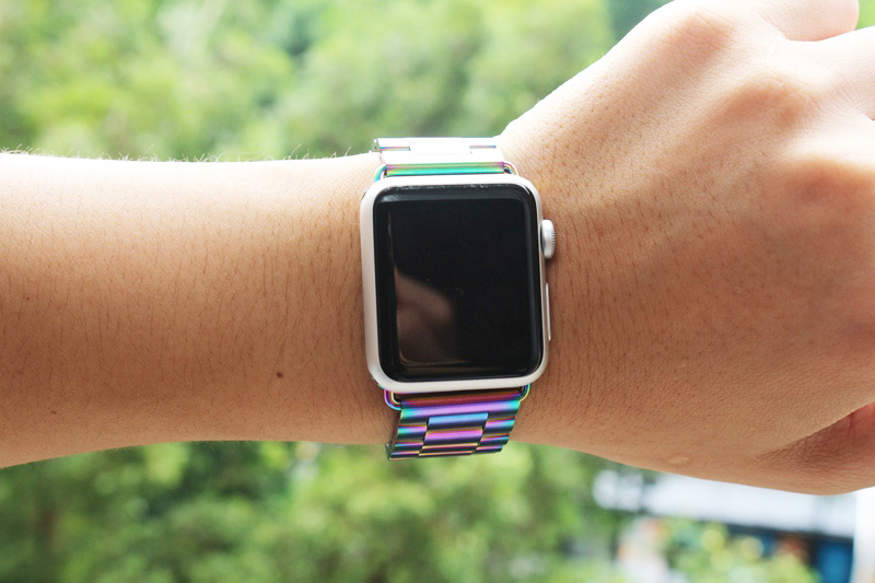 URVOI band for apple watch series 1 2 3 strap wrist stainless steel link bracelet new color colorful design with adapter 38 42mm stylish 8 led blue light digit stainless steel bracelet wrist watch black 1 cr2016
