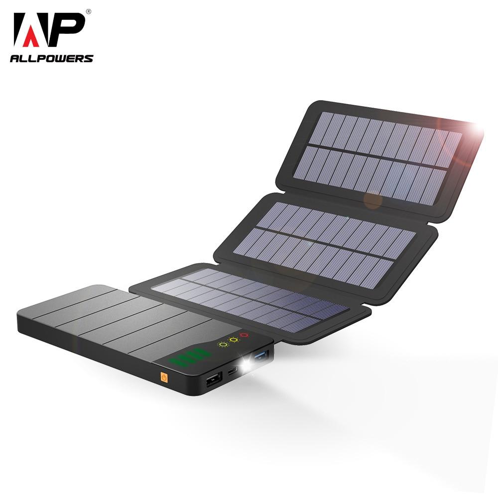 ALLPOWERS 10000 mAh Solar Power Bank Carregador Solar À Prova D' Água Dobrável Portátil Bateria Externa para iPad iPhone Samsung HTC