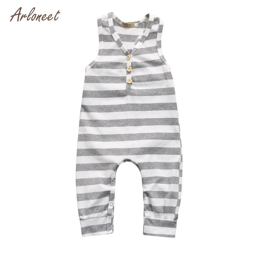 ARLONEET Summer Newborn Baby Girl Boy Sleeveless Striped Romper Jumpsuit Clothes Outfits Dropshipping Mar19