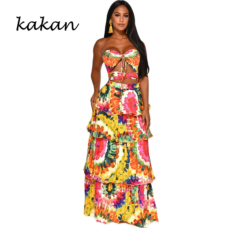 kakan Printed tube top cake dress 2019 summer new womens sexy hollow open back