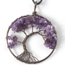 UMY New Trendy Copper Wisdom Pendant Tree of Life Necklace Natural Purple Quartz Stone Jewelry