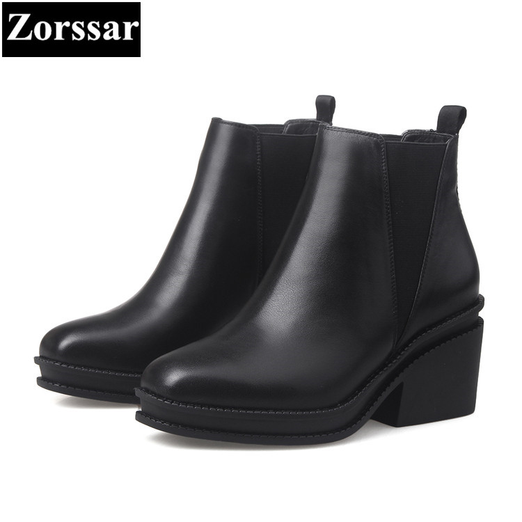 {Zorssar} 2018 NEW fashion thick heel short boots Genuine leather High heel platform women ankle boots Round Toe women shoes nayiduyun women genuine leather wedge high heel pumps platform creepers round toe slip on casual shoes boots wedge sneakers