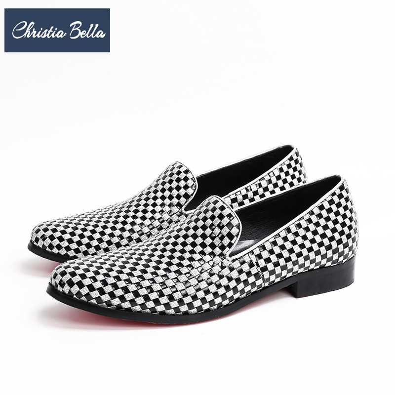 Christia Bella Fashion Black White Plaid Men Loafers British Style Genuine Leather Men Flats Shoes Slip on Casual Shoes Big Size цена 2017