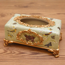 American country high-grade paper tissue box painted butterfly bird ceramic paper towel box European style garden Retro