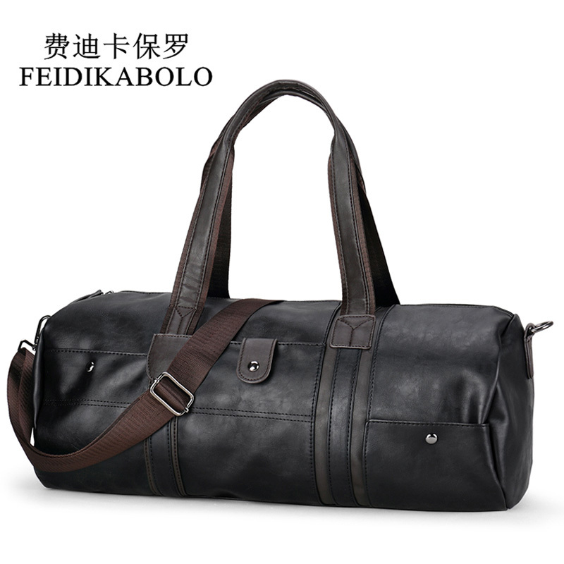 FEIDIKABOLO Brand Oil Wax Leather Handbags For Men S Fashion Travel Bags Men Large Capacity Portable