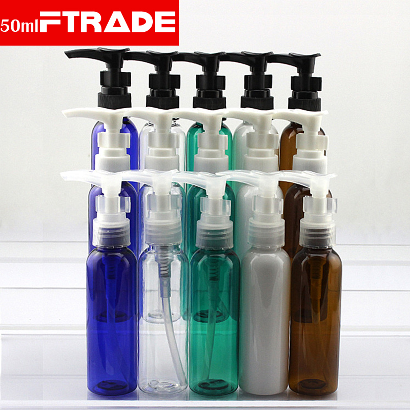 60ml 50pcs lot PET bottle with PP screw cap Clear Plastic Pump Refillable Bottles for Emulsion