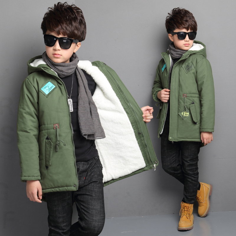 Thick Winter Children Jackets boys Coats Hooded Star Pattern Kids Outerwear Cotton Padded Baby Boy Snowsuit Cold Winter Outwear
