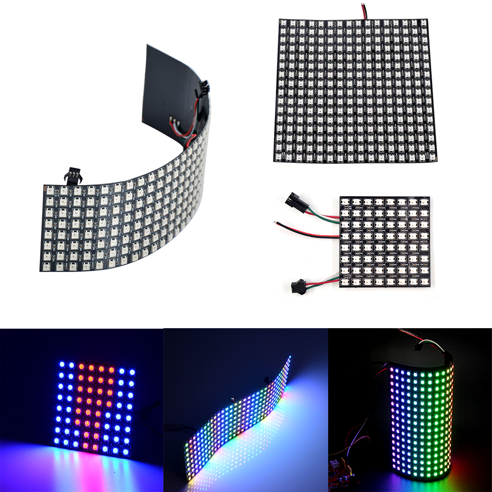 WS2812B Led Panel Chip 8x8/8x32/16x16 Pixels WS2812 RGB Full Color SK6812 Addressable Digital Flexible Panel Screen DC5V