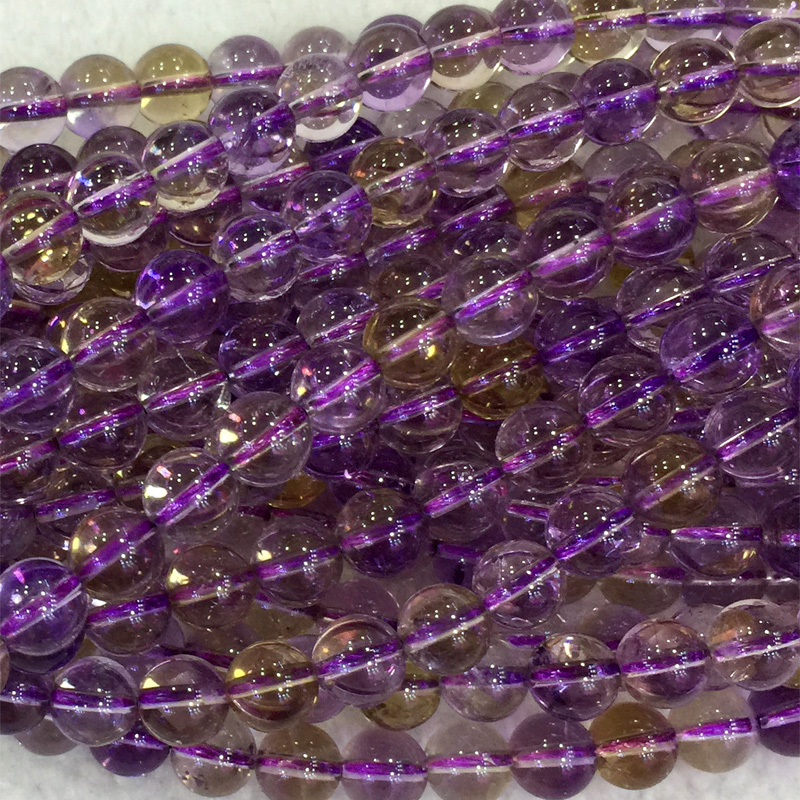 Natural Genuine Clear Purple Yellow Ametrine Round Loose Beads 4 18mm Fit Jewelry 04098