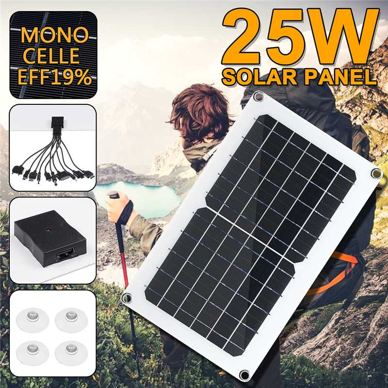 New 25W <font><b>Solar</b></font> <font><b>Panel</b></font> <font><b>5V</b></font> <font><b>Solar</b></font> Cell USB Monocrystalline <font><b>2A</b></font> <font><b>Solar</b></font> charger Output Outdoor Camping Working with One to Ten Data Cable image
