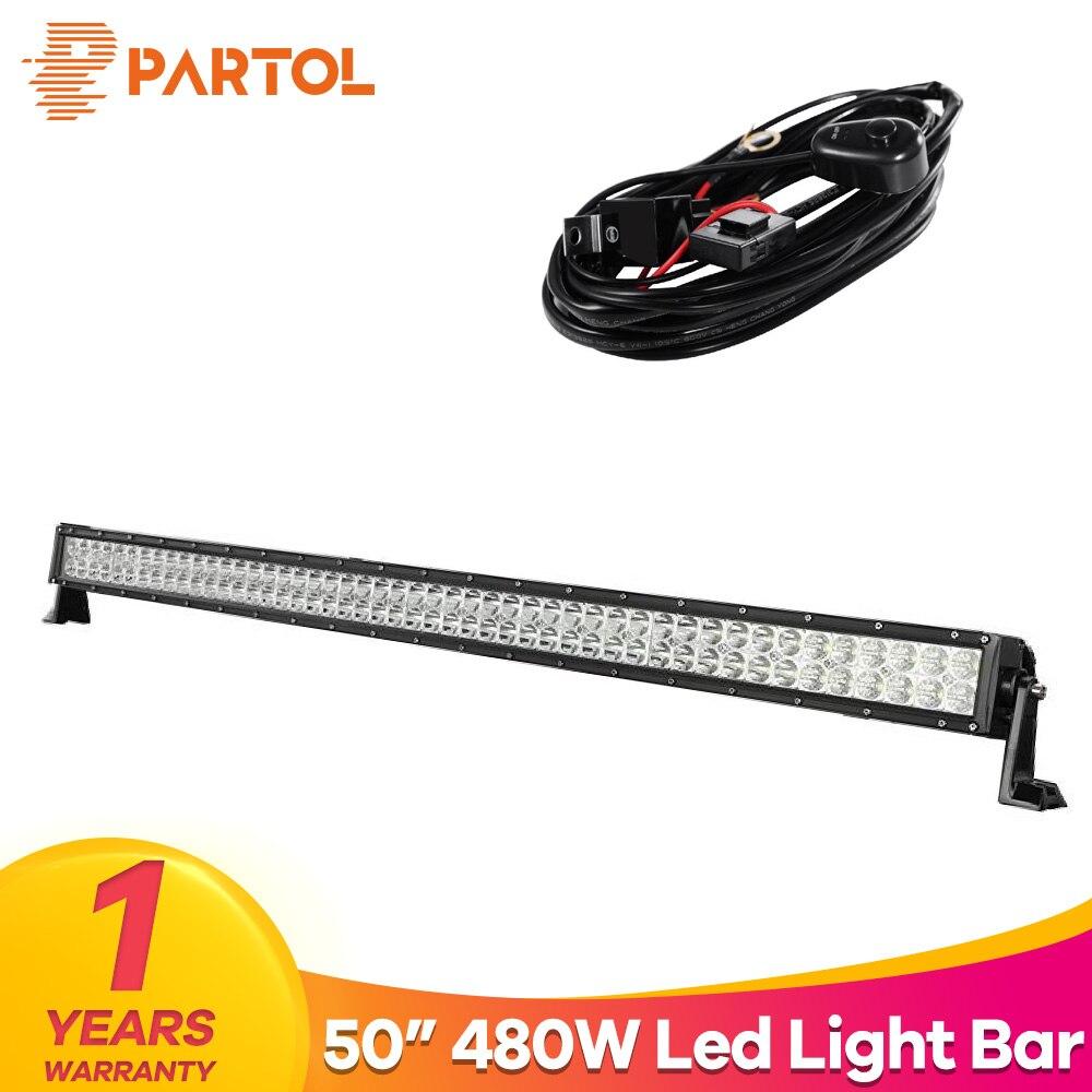 Partol 50 прямой светодиодный свет комбо луч бар автомобиля свет работы баров дальнего 4x4 внедорожный 4WD светодиодный бар 12 В 480 Вт для ATV/UTV/гольф