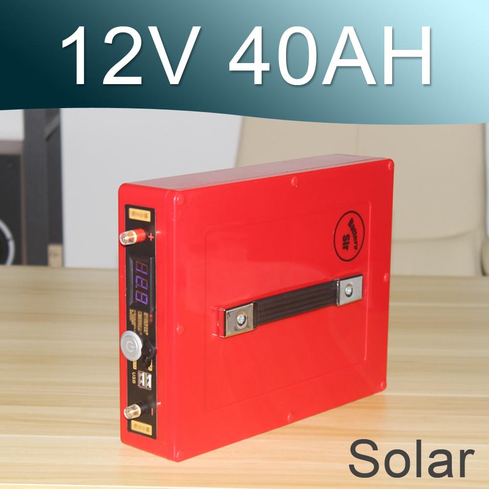 12V Перезаряжаемые солнечные батареи лития-ионный аккумулятор 12V 40ah батареи литий-полимерный аккумулятор с USB ручка дисплей напряжения