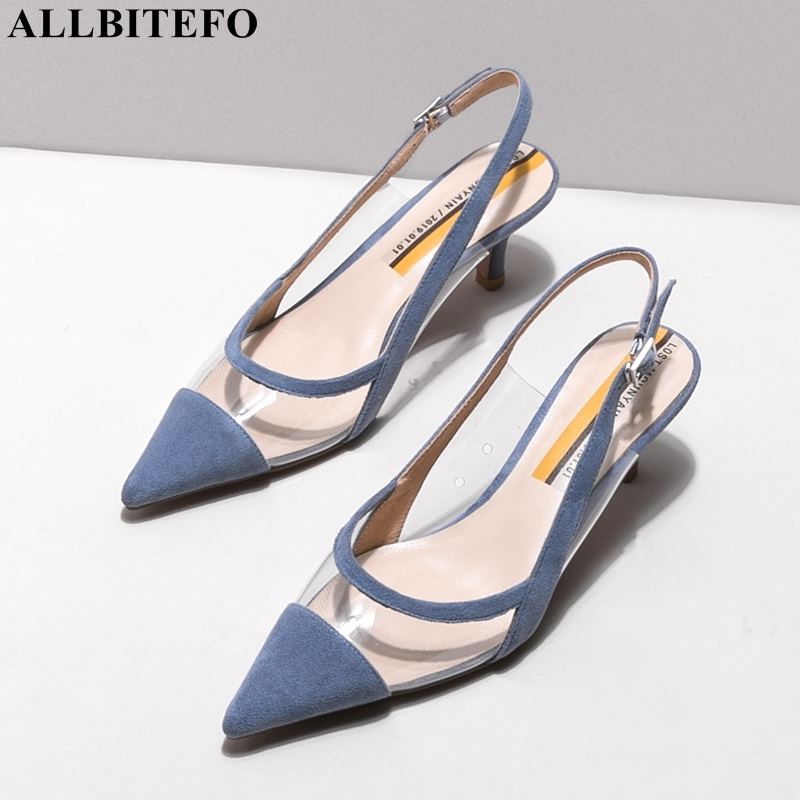 ALLBITEFO sexy high heels party women shoes genuine leather pointed toe summer women sandals women high