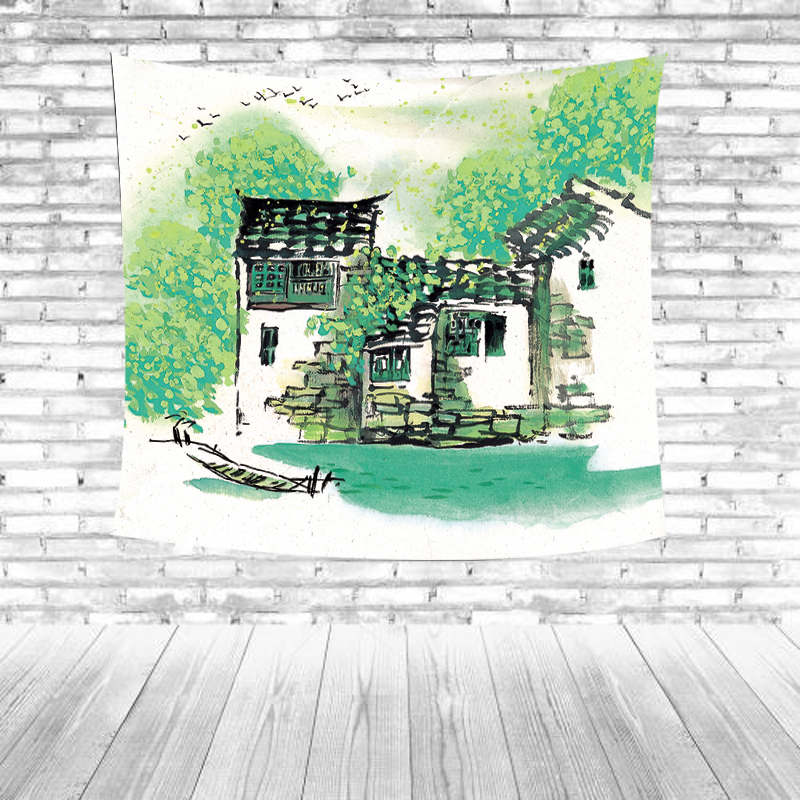 Ethnic Tapestry Green Striped Leaves Flower House Wild Goose Towel Mat Outdoor Picnic Mat Farmers Living Room Decorative Carpet