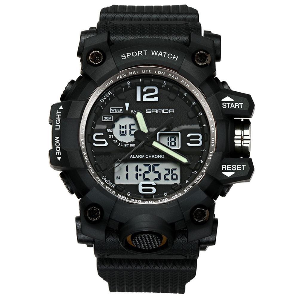 Popular Men Sports Dual Time Zones Alarm Calendar Chronograph Digital Analog Wrist Watch Popular Men Sports Dual Time Zones Alarm Calendar Chronograph Digital Analog Wrist Watch
