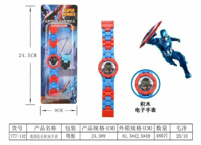 2019 Children's Cartoon Toys Digital Watch Avengers KT Cats Frozen Building Blocks Electronic Watch Kids Boys Girls Puzzle Gifts