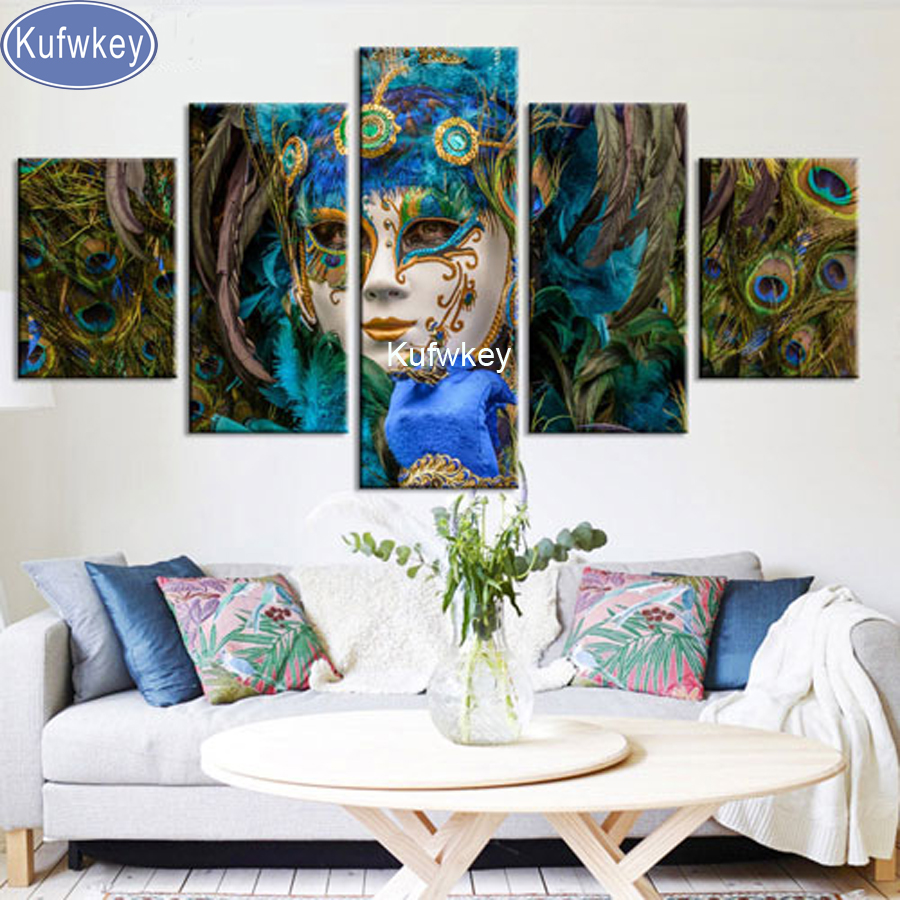 5pcs diy Diamond Painting mask peacock Full Diamond Embroidery 3d picture Cross Stitch Diamond Mosaic home