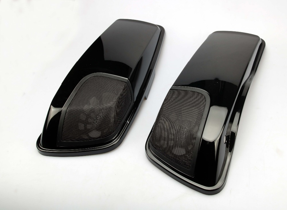 Motorcycle Left Right Saddlebag Lid Set Pair Lids Speaker Cutouts For Harley Touring 2014-2017 Electra Street Glide rsd motorcycle 5 hole beveled derby cover aluminum for harley touring flh t 2016 2017 for flhtcul and flhtkl 2015 2016 2017