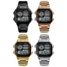 лучшая цена Electronic Watch Sports Watches Waterproof Electronic bracelet Stainless Steel Fashion Gold Retro Digital Wristwatches