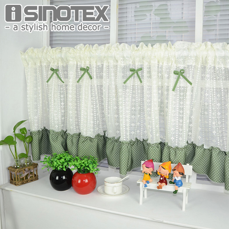 Half Curtain Window Curtain Bowknot Lace Decoration Floral For Kitchen  Curtain Valance Living Room Drape Panel