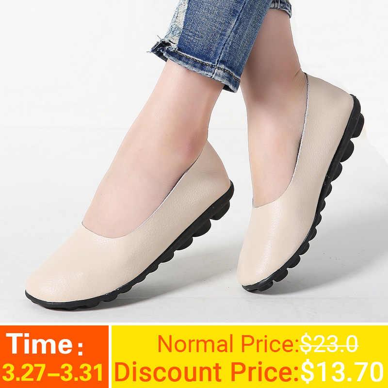 3e1182992761 Kilobili/2019 весенние женские туфли на плоской подошве, лоферы из  натуральной кожи, ...