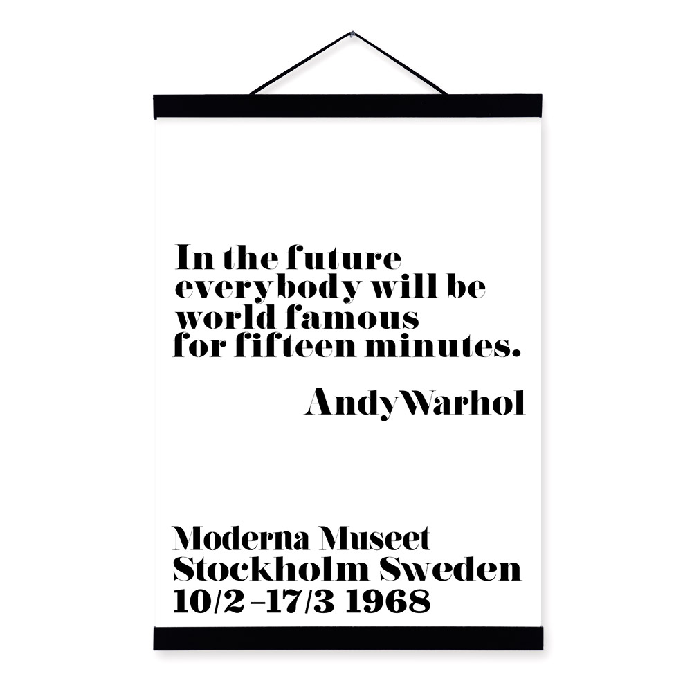 Andy Warhol Quotes Modern Nordic Black White Minimalist Motivation Andy Warhol Life