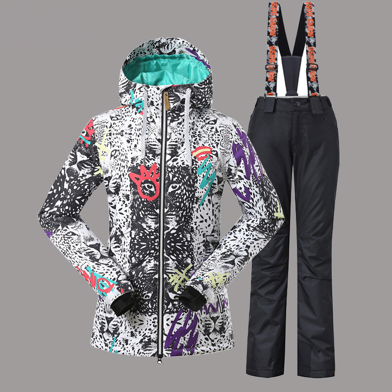 Gsou Snow Ski Jacket+Pant Winter Ski Suit for Girls Snowboarding Suits Outdoor Waterproof Super Warm Skiing Clothing Women 2019