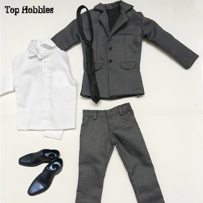 Model Scale 1:6 Male Gray Set Suit Trousers Clothing Accessories For 12