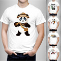 Новые 2016 мужская мода с коротким рукавом cute panda отпечатано футболки Harajuku забавный футболки Hipster О-Образным Вырезом прохладный топы