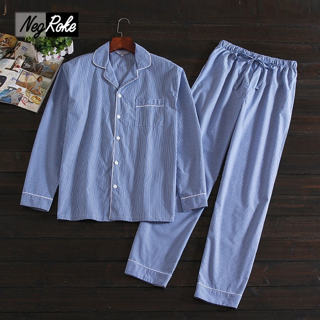 New Blue Striped 100% cotton Mens pajamas sets Spring Simple long-sleeve sleepwear for male Casual pijamas hombre pyjamas mens