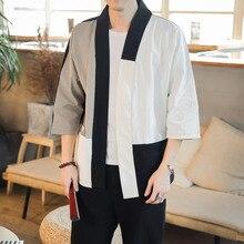 #3906 Spring Summer Spliced Color Streetwear Kimono Cardigan Jacket Men Cotton Linen Vintage Three Quarter Sleeve Plus Size 5XL