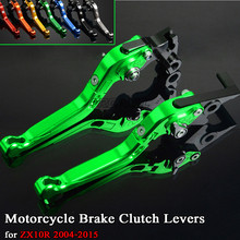 цена на For Kawasaki ZX10R ZX 10R ZX 10 R 2004-2015 CNC Aluminum Motorbike Levers Motorcycle Brake Clutch Levers Foldable Extendable