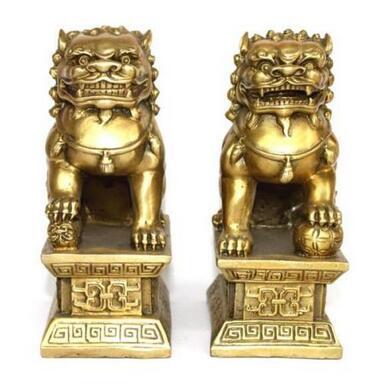 Statue en cuivre en laiton chinois pour chiens Lions paire dun lion femelle sur le talisman du malStatue en cuivre en laiton chinois pour chiens Lions paire dun lion femelle sur le talisman du mal