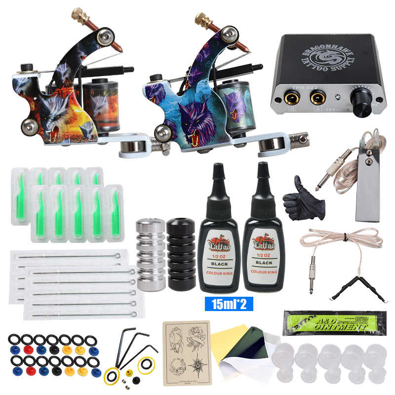 Beginner Tattoo Kit Mini Tattoo Voeding Tattoo Machine Set Grips Naalden Tips Supplies
