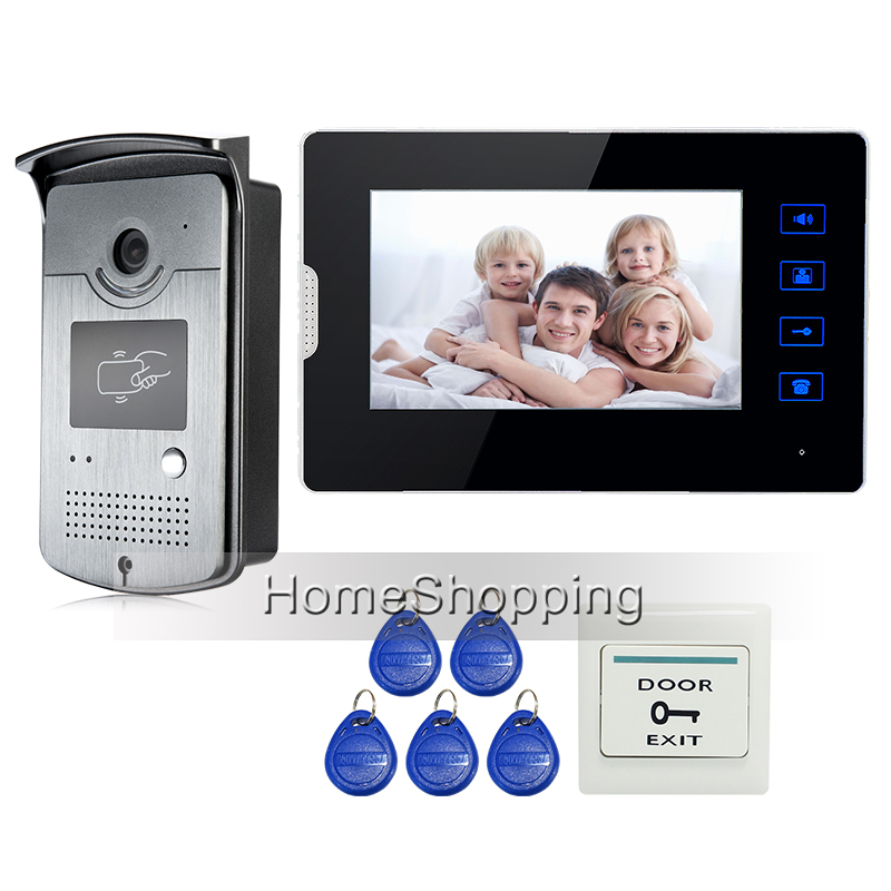 Apartment 7 Color Touch Screen Video Door Phone Intercom Kit + 1 RFID Access Door Camera + 1 Monitor In Stock Free Shipping jeruan home 7 video door phone intercom system kit rfid waterproof touch key password keypad camera remote control in stock
