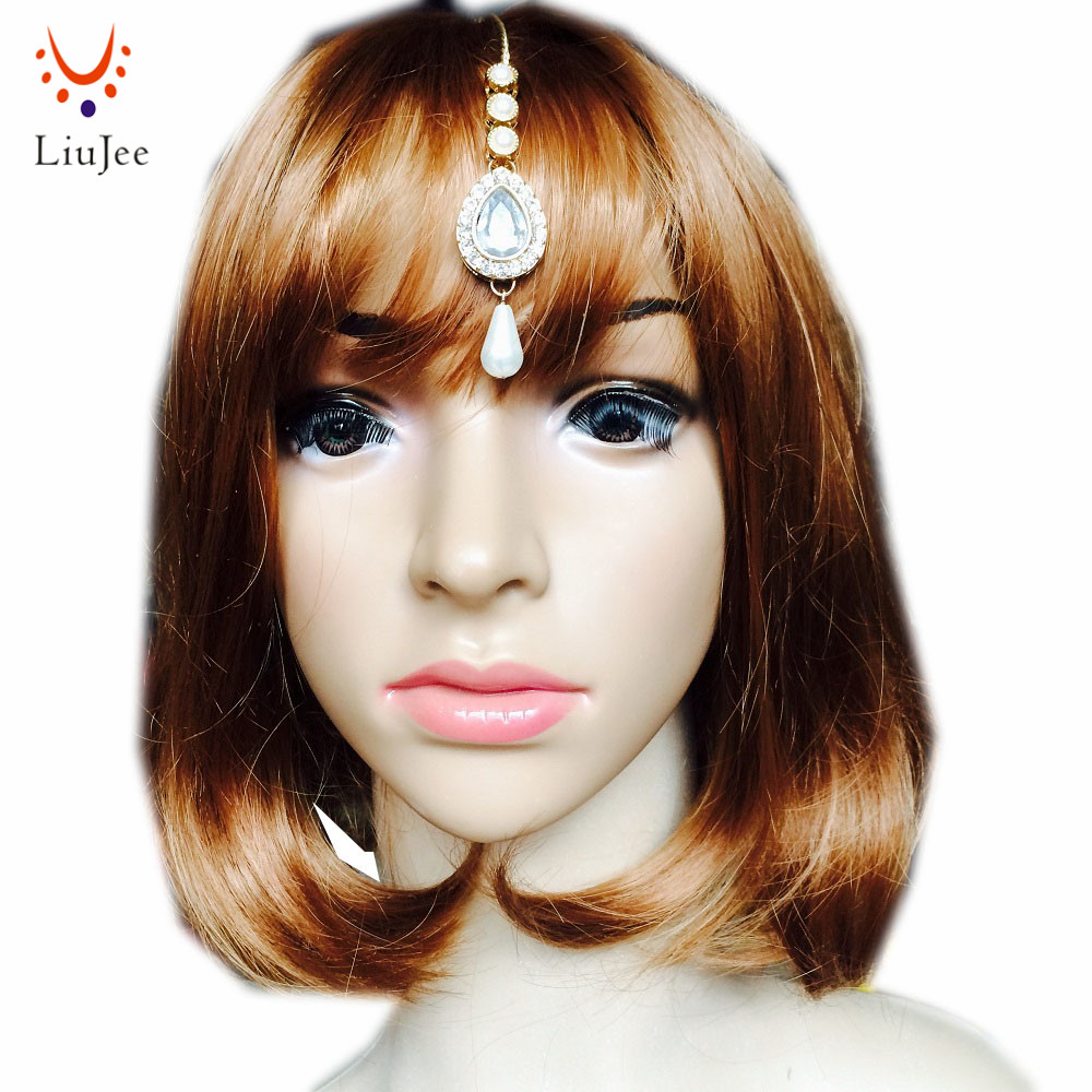 LiuJee KD099 Bride Wedding Hair Accessory Princess Imitation Pearl Forehead Jewelry Indian Bridal Headpiece Crystal Head Chain
