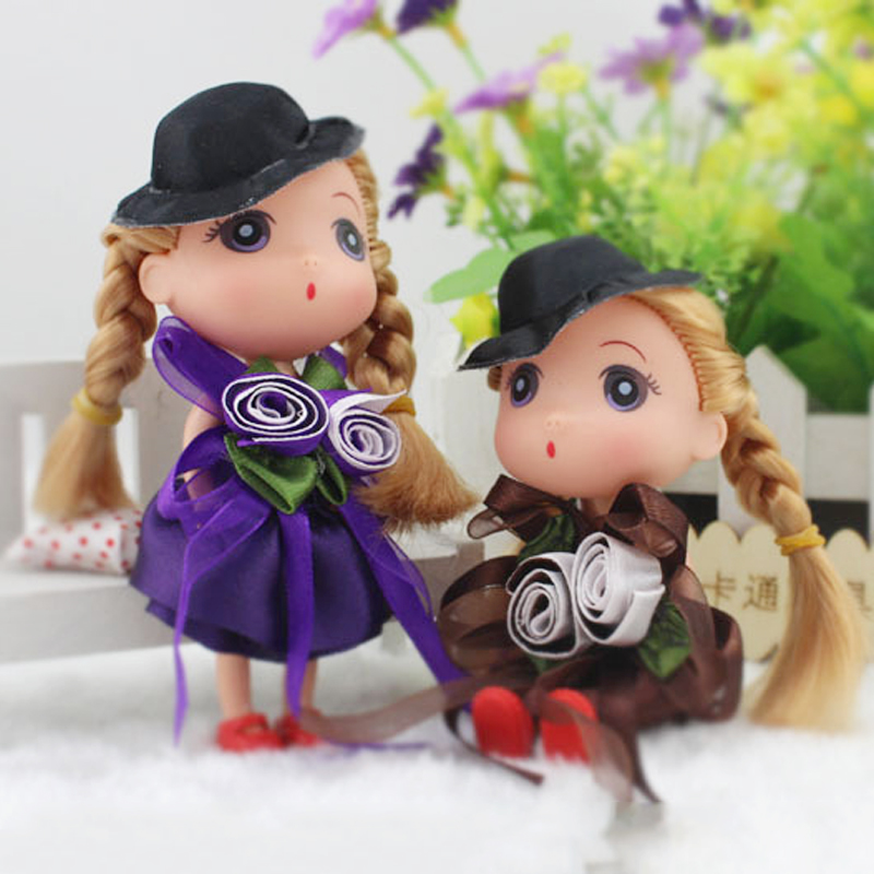 2018 hot Girl Doll Baby Kids Small Gifts Mini Toys Gold Hair Wearing Rose Clothes With Black Hat Beautiful for girl gift 12cm