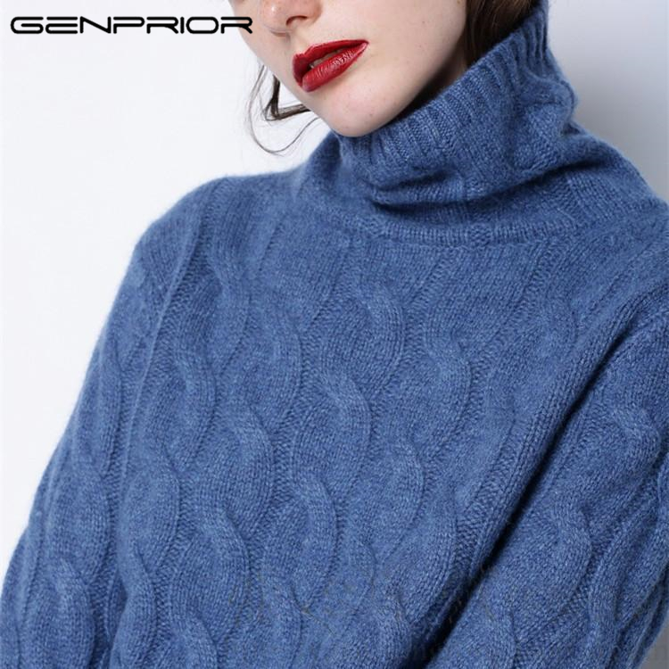 2017 Autumn Winter 90% Cashmere 100% Wool Pullover Turtleneck Female Large Size Sweater Thick Loose Twist Knitted Women Jumper ...