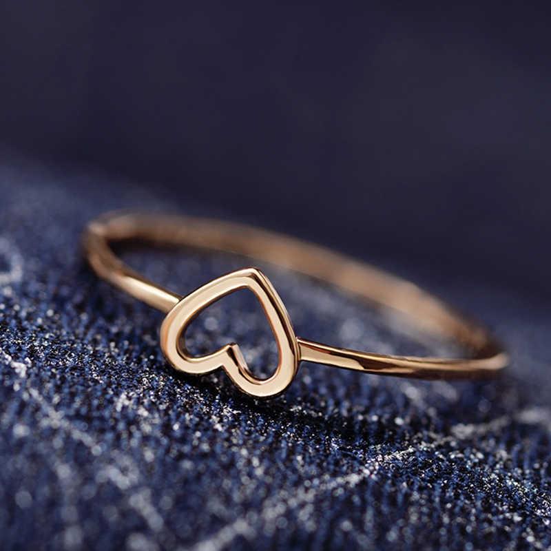 2019 ใหม่ Minimalist ทองแดง Rose Gold Silver สีรูปหัวใจงานแต่งงานแหวนผู้หญิงรักแหวนนิ้วมือสำหรับเพื่อนที่ดีที่สุด