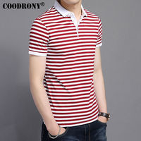 COODRONY 2017 Summer New Fashion Striped Turn Down Collar Tee Shirts Short Sleeve T Shirt Men