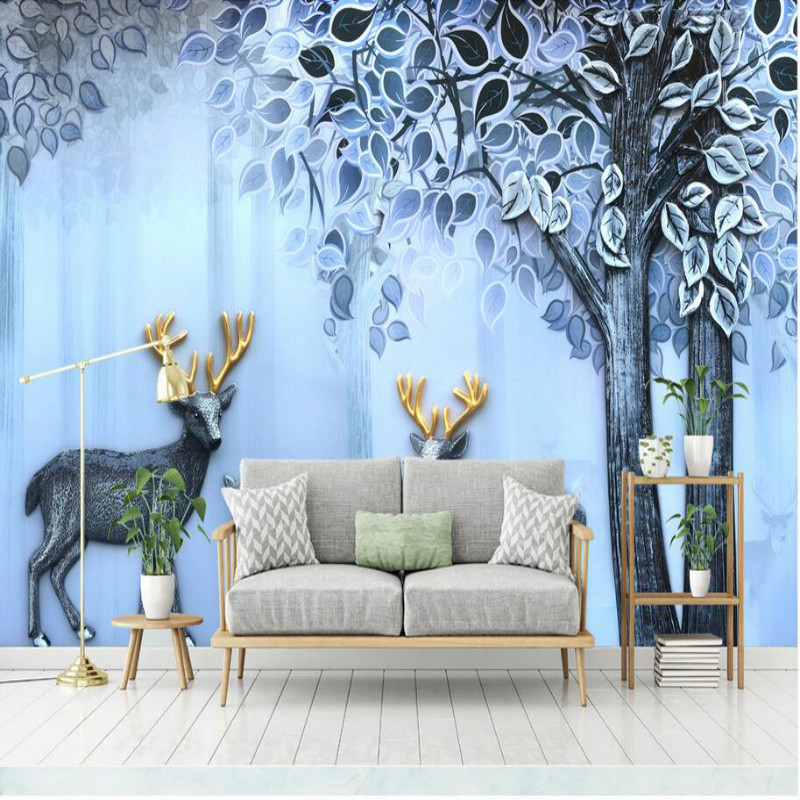 Modern simple relief elk abstract Wallpapers for 3d Wall Paper Vintage Decorative Painting Backdrop Home Improvement wallpapers