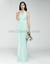Elegant Halter Long bridesmaid dresses Off The Shoulder Draped wedding party gown Backless for formal party