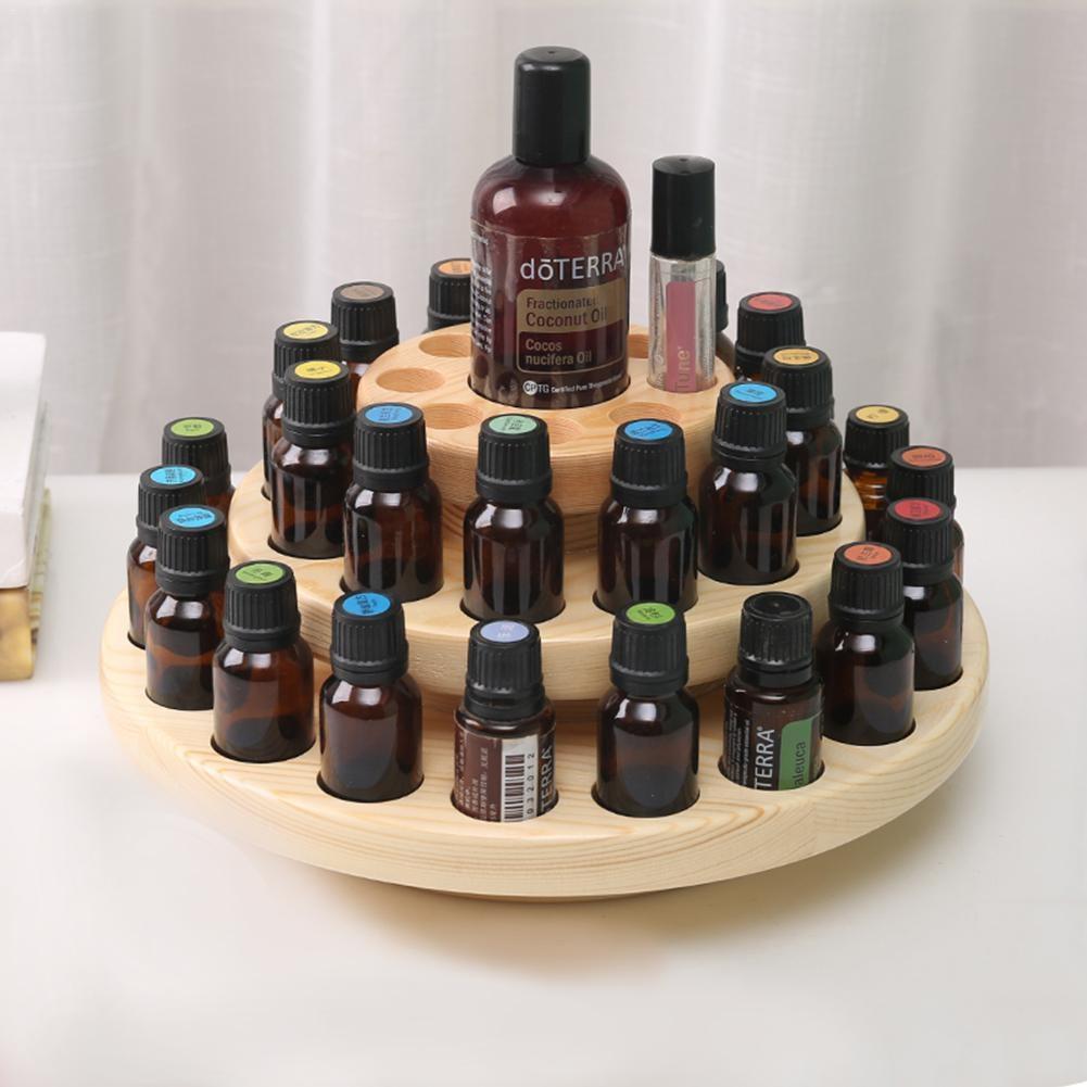 Cas en bois Aromathérapie Huiles Organisateur Boîte De Rangement Outil 39 Fentes Trois Couches D'huile Essentielle Affichage De Boîte De Rangement