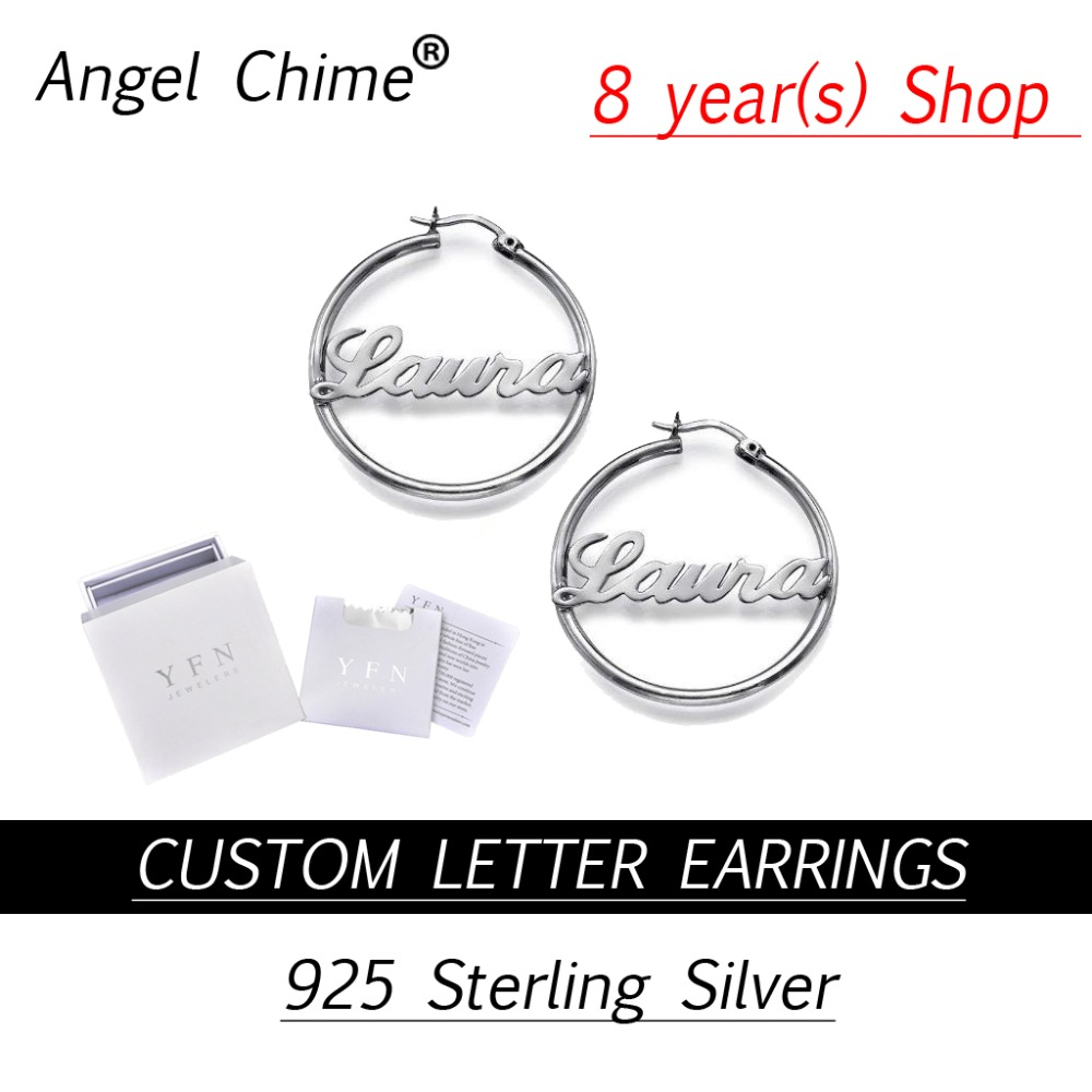 Angle Chime Brand Custom Personalized Name Round Hoop Earrings Real 925 Sterling Silver High Quality