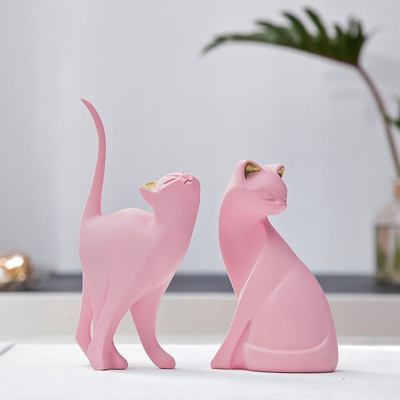 Cute Lovely Cat Creative Personality Resin Cat For Room Ornaments Figurine Statue Artificial Best Gift