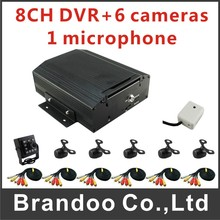 6 cameras recording system for bus used, 8 channel CAR DVR, microphone for audio recording,used on bus/taxi, from Brandoo