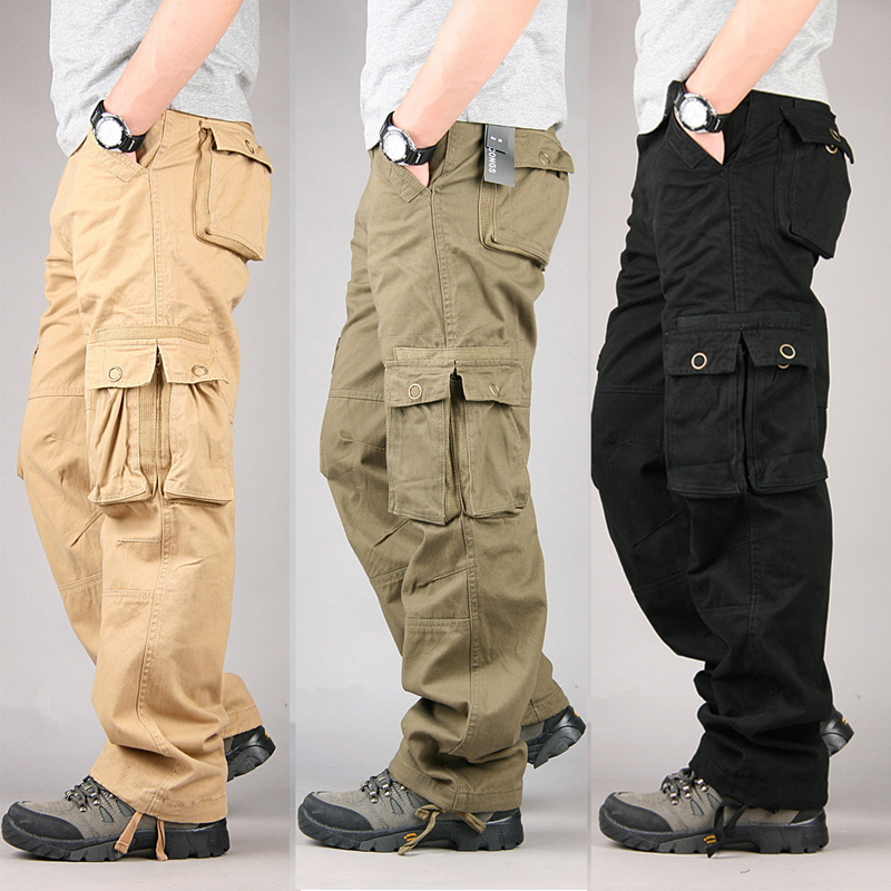 100% algodón Durable Multi bolsillo sueltos holgados pantalones de carga Hombres Estilo militar Pantalones largos Negro Caqui Verde militar Tamaño grande 38